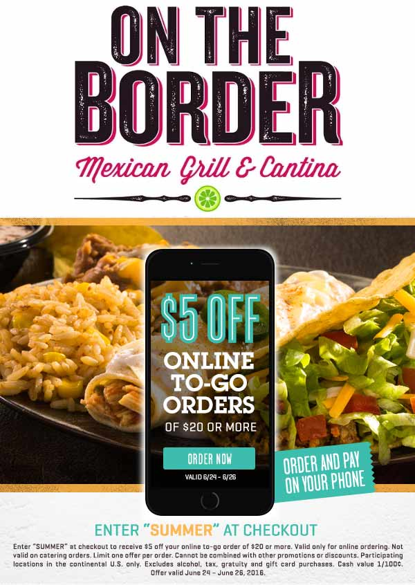 On The Border Coupon September 2017 $5 off $20 on takeout ordered online at On The Border Mexican restaurants
