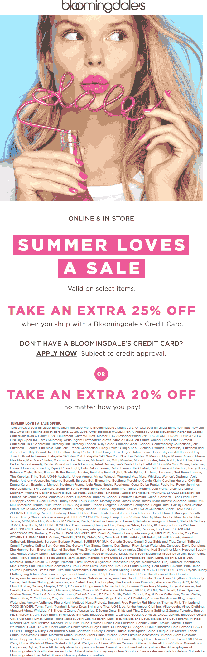 Bloomingdales Coupon June 2017 Extra 20% off at Bloomingdales, ditto online