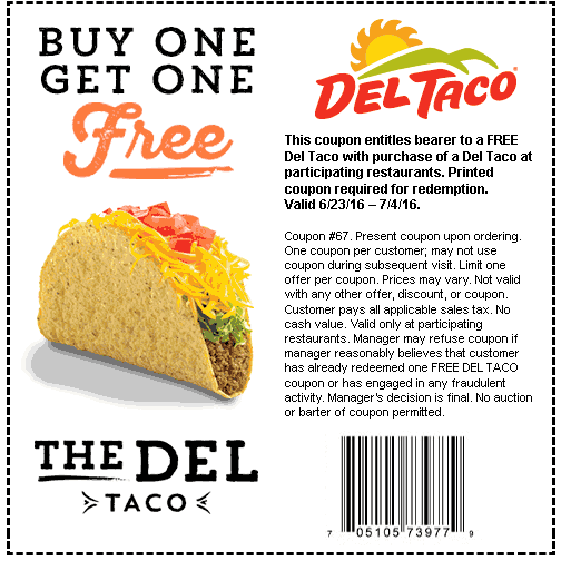 Del Taco Coupon June 2017 Second taco free at Del Taco