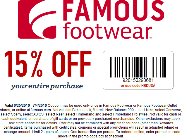 Famous Footwear Coupon December 2016 15% off at Famous Footwear, or online via promo code HBDUSA