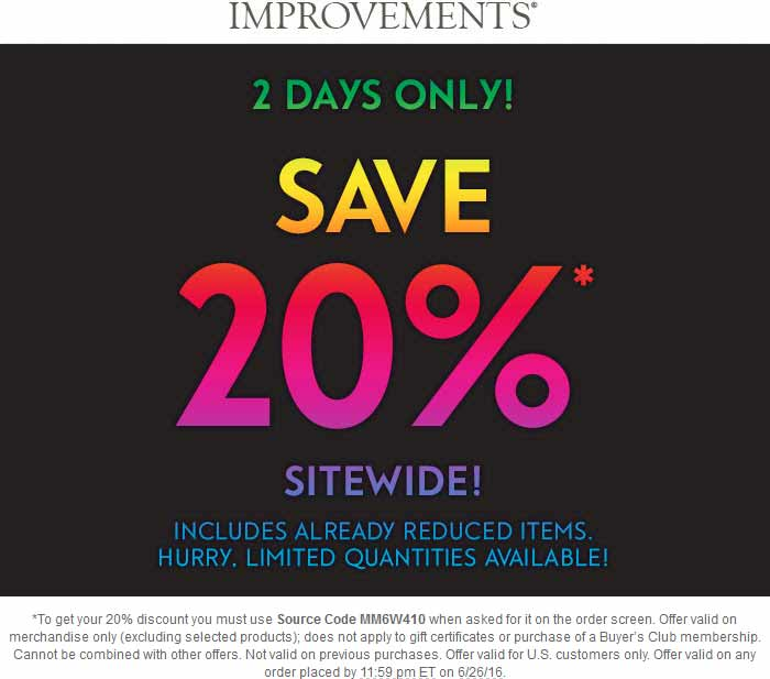 Improvements Coupon March 2017 20% off everything online at Improvements via promo code MM6W410