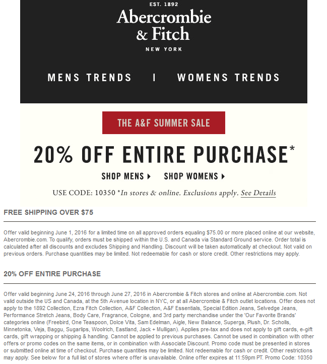 Abercrombie & Fitch Coupon July 2017 20% off at Abercrombie & Fitch, or online via promo code 10350