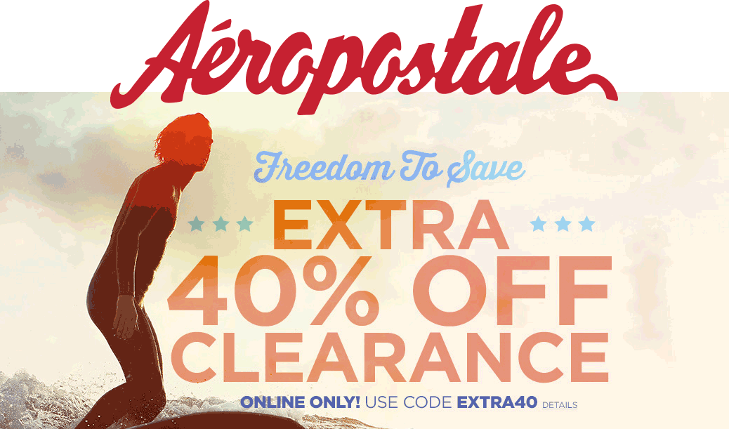 Aeropostale Coupon May 2017 Extra 40% off clearance online at Aeropostale via promo code EXTRA40