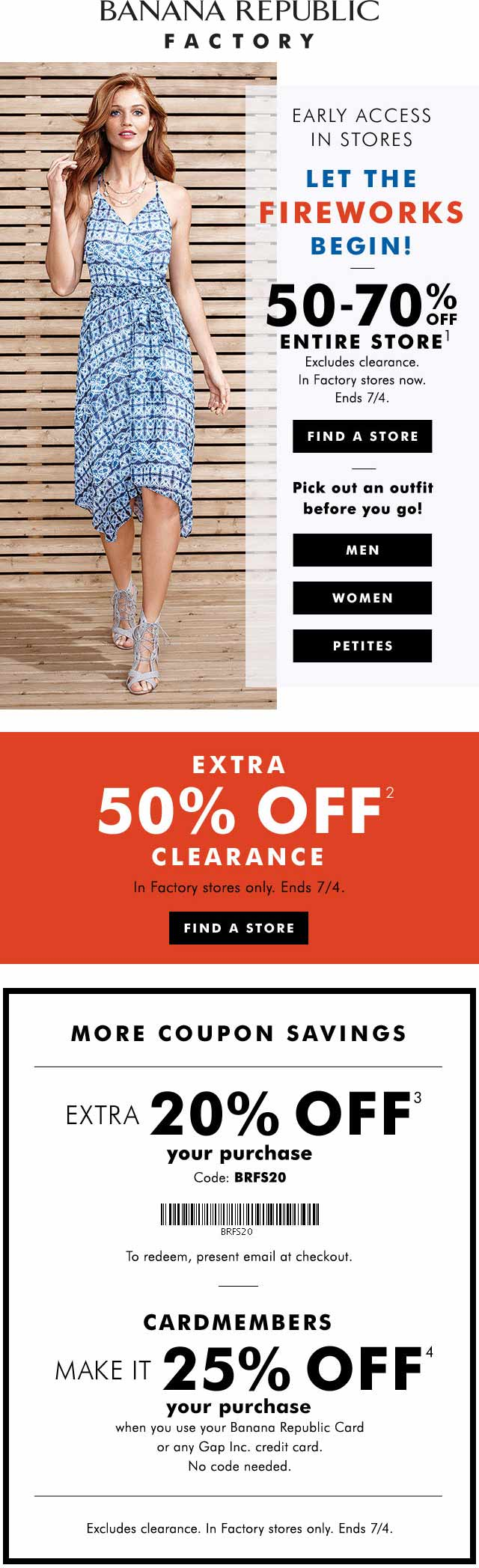 Banana Republic Factory Coupon May 2017 50-70% off everything & more at Banana Republic Factory