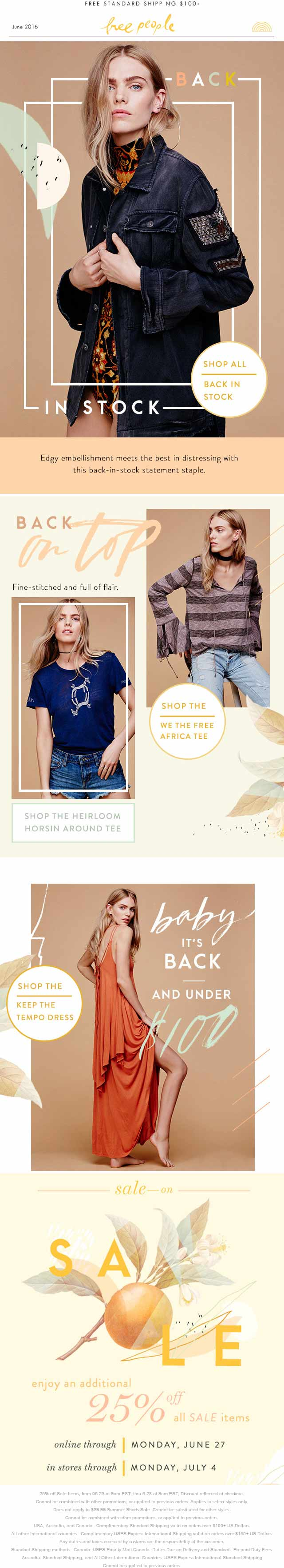 Free People Coupon June 2017 Extra 25% off sale items at Free People, ditto online