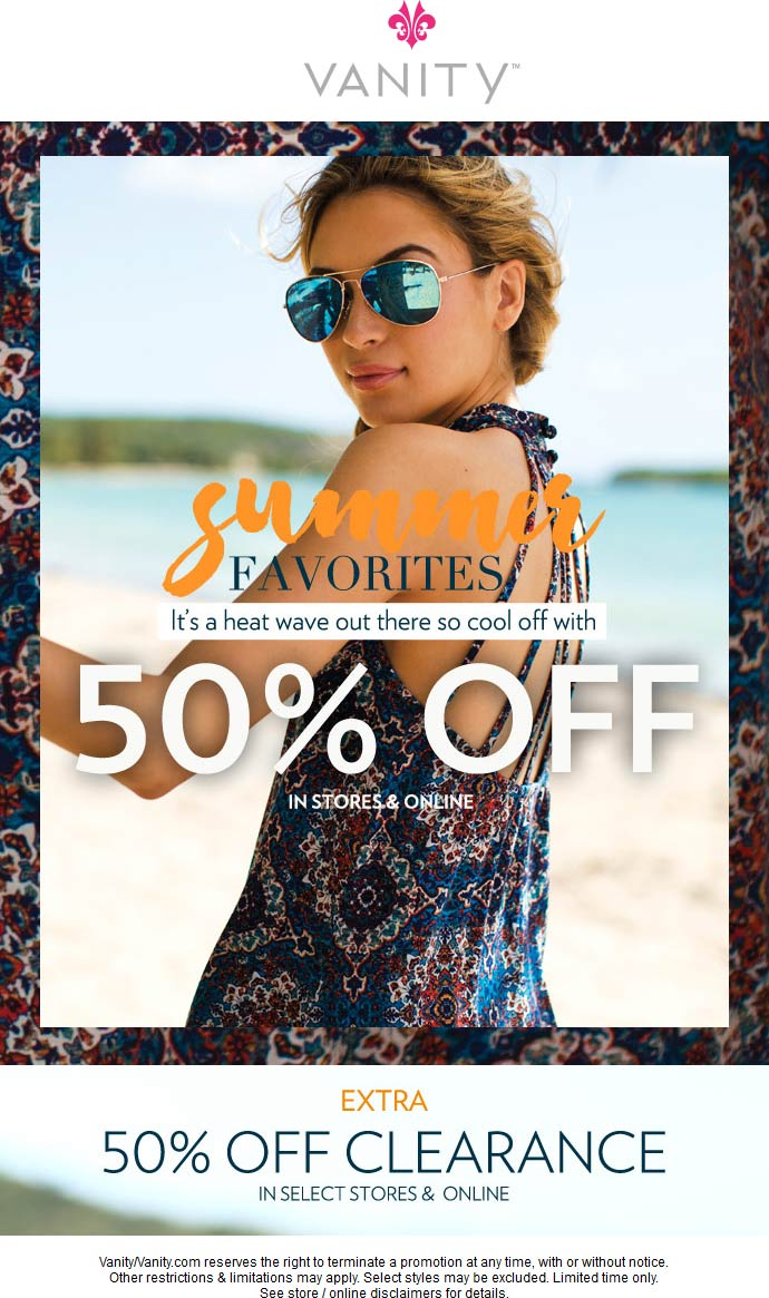 Vanity.com Promo Coupon 50% off summer & clearance at Vanity, ditto online
