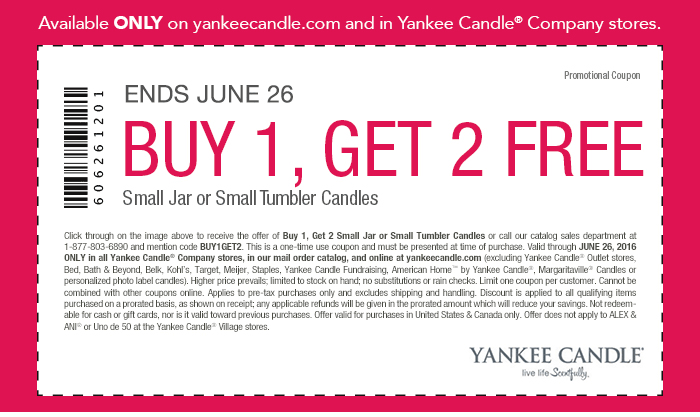 Yankee Candle Coupon August 2017 3-for-1 today at Yankee Candle, or online via promo code BUY1GET2