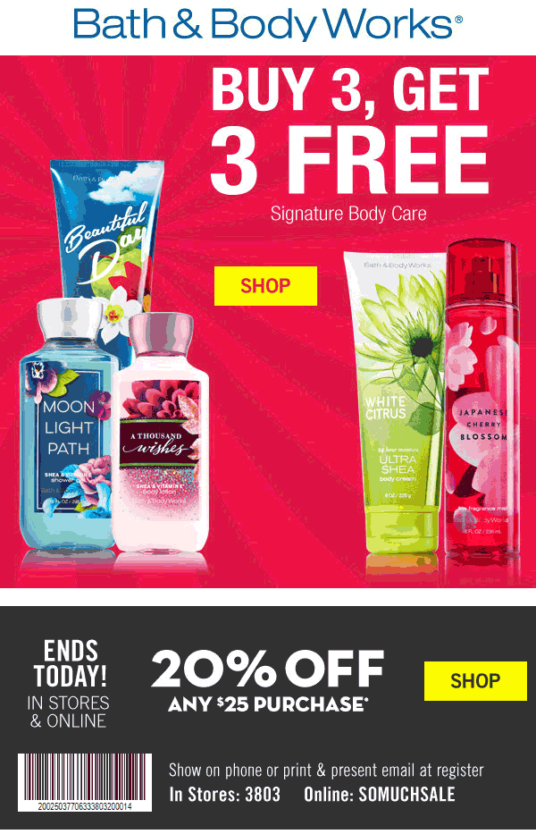 Bath & Body Works Coupon July 2017 20% off $25 today at Bath & Body Works, or online via promo code SOMUCHSALE