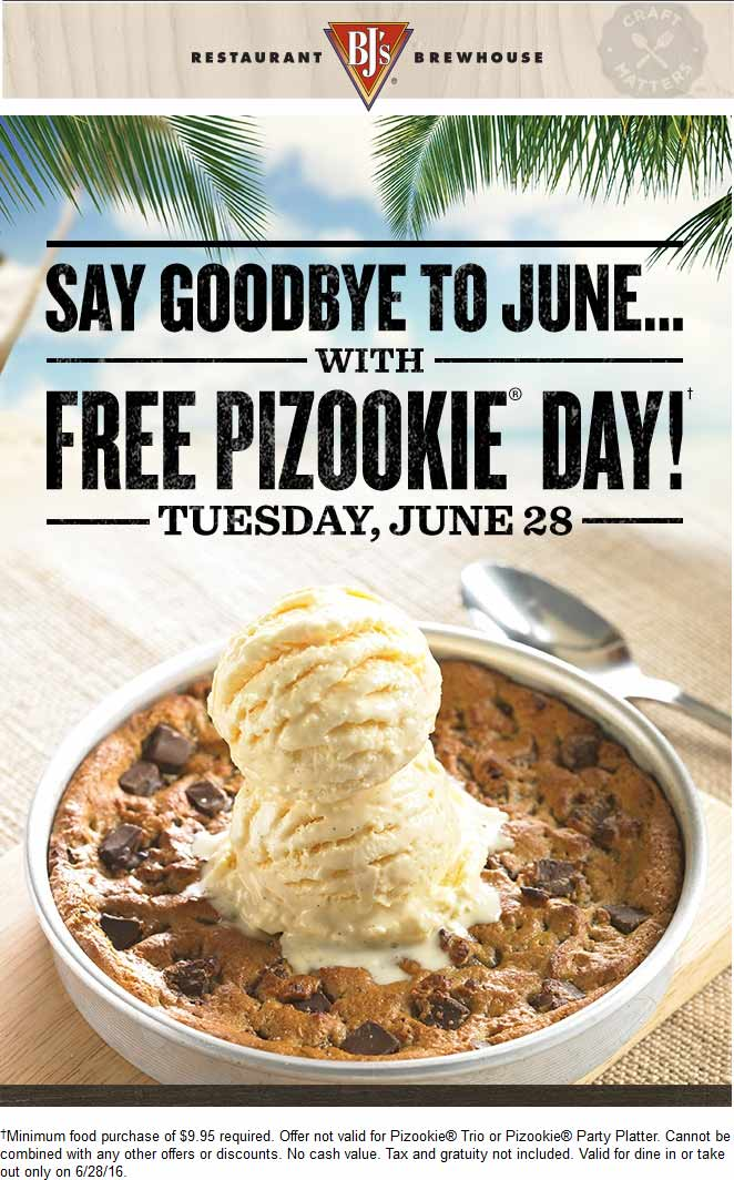 BJs Restaurant Coupon April 2018 Free cookie & ice cream with $10 spent Tuesday at BJs Restaurant & brewhouse