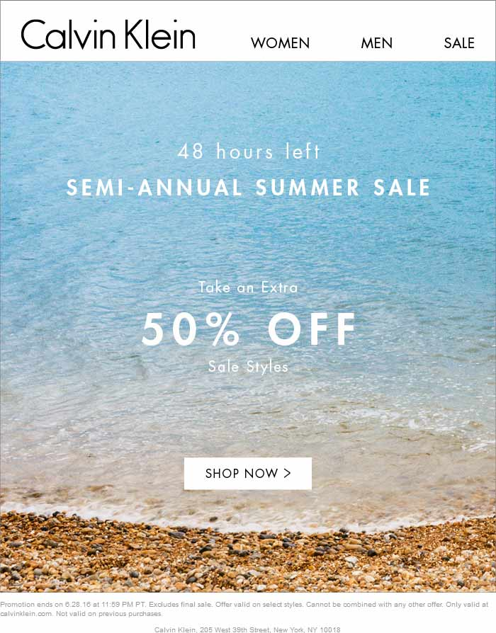 Calvin Klein Coupon May 2017 Extra 50% off sale styles online at Calvin Klein