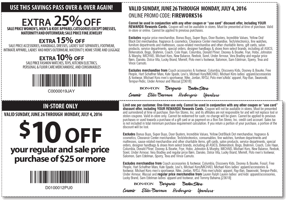 Carsons Coupon July 2017 $10 off $25 & more at Carsons, Bon Ton & sister stores, or 25% off online via promo FIREWORKS16