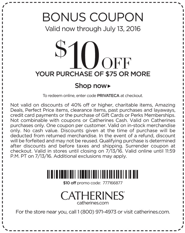 Catherines Coupon December 2017 $10 off $75 at Catherines, or online via promo code PRIVATECA