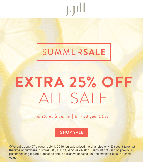 J.Jill Coupon August 2018 Extra 25% off sale items at J.Jill, ditto online