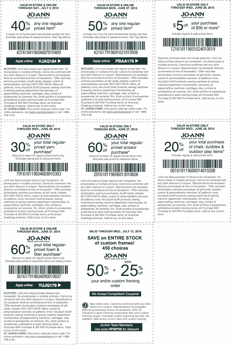 Jo-Ann Fabric Coupon April 2017 40% off a single item & more at Jo-Ann Fabric, or online via promo code VJAQ184