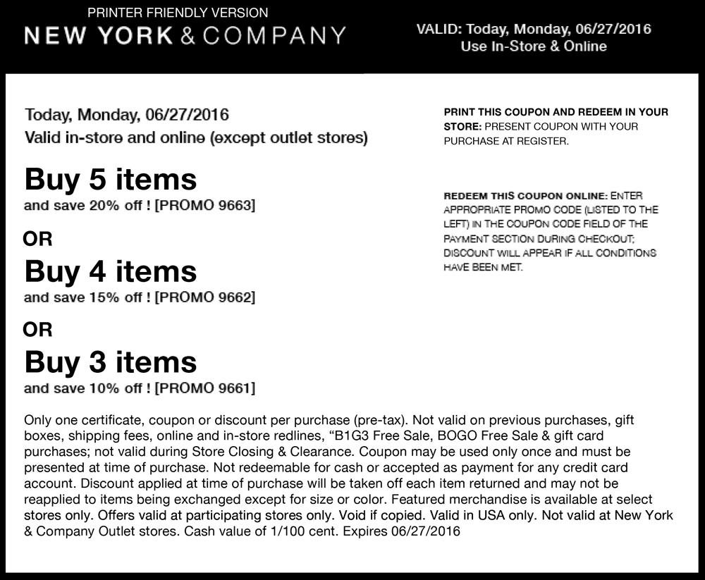 New York & Company Coupon August 2017 10-20% off today at New York & Company, or online via promo code 9661