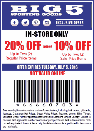 Big 5 Coupon February 2018 10-20% off at Big 5 sporting goods