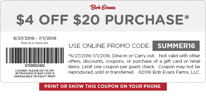 Bob Evans Coupon February 2017 $4 off $20 at Bob Evans restaurants