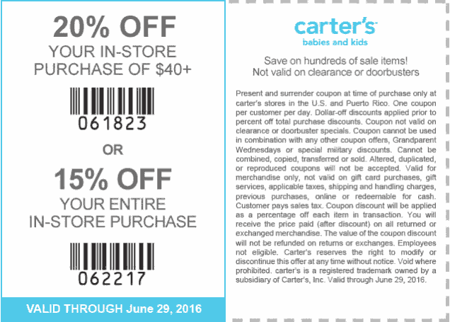 Carters Coupon May 2017 15-20% off at Carters, or online via promo code CAR63016