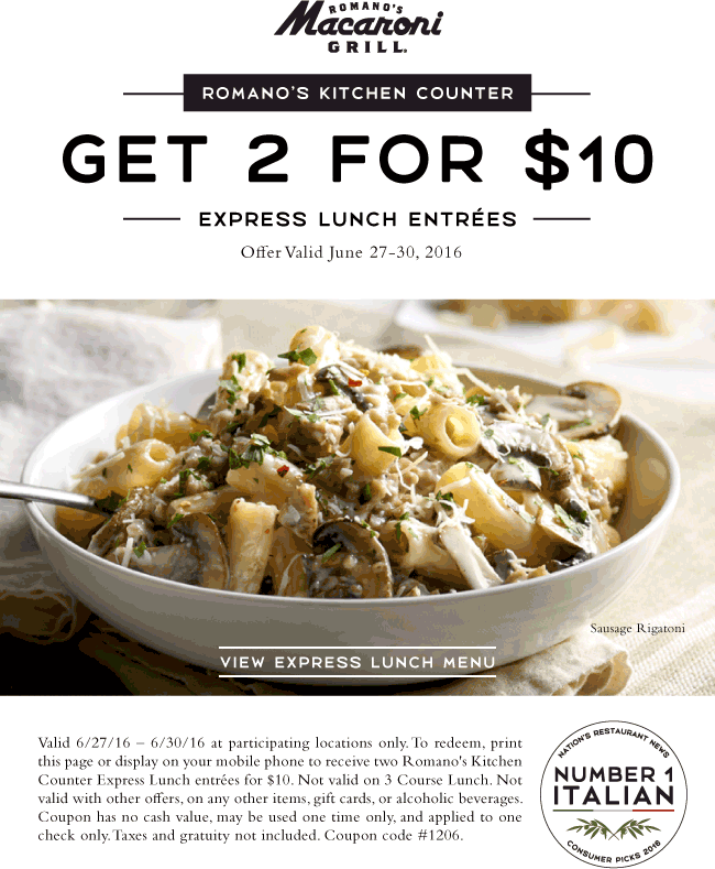 Macaroni Grill Coupon March 2017 Two lunches for $10 at Macaroni Grill