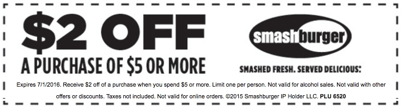 Smashburger Coupon June 2017 $2 off $5 at Smashburger restaurants