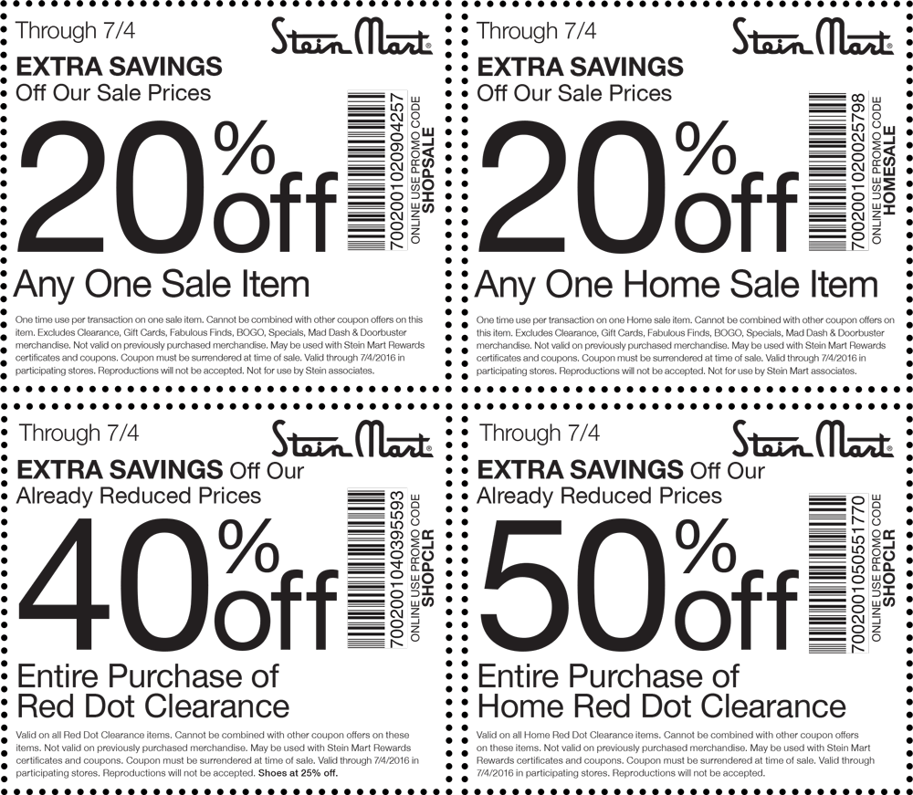 Stein Mart Coupon April 2017 Extra 20% off a single sale item & more at Stein Mart, or online via promo code SHOPSALE