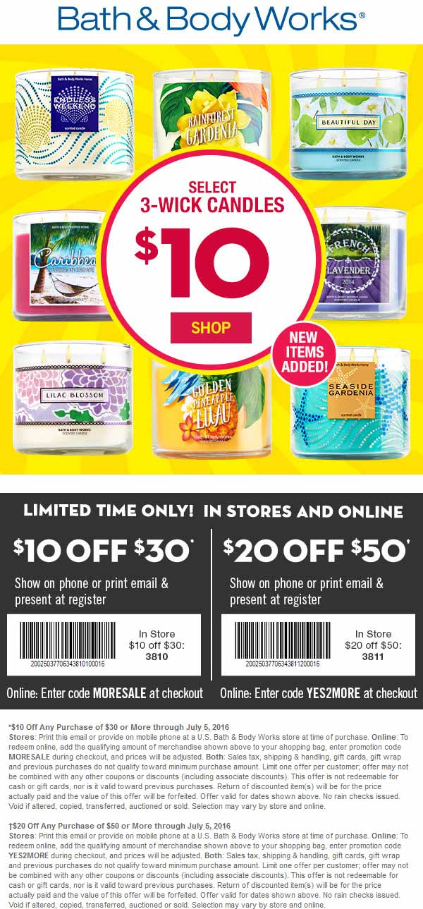 Bath & Body Works Coupon September 2017 $10 off $30 & more at Bath & Body Works, or online via promo code MORESALE