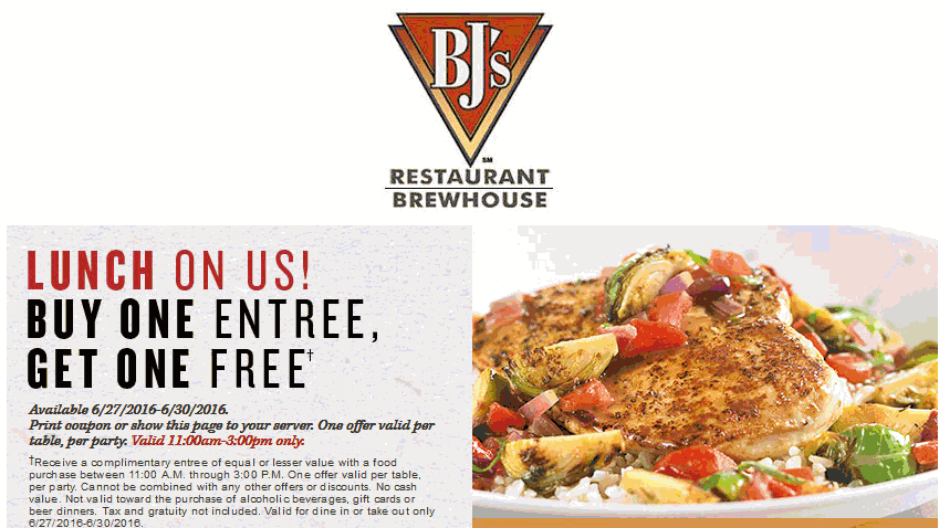 BJs Restaurant Coupon February 2017 Second lunch entree free at BJs Restaurant & brewhouse