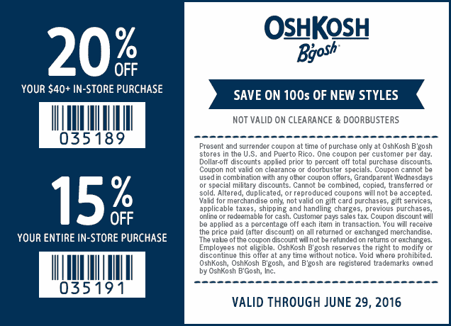 OshKosh Bgosh Coupon October 2016 15-20% off today at OshKosh Bgosh