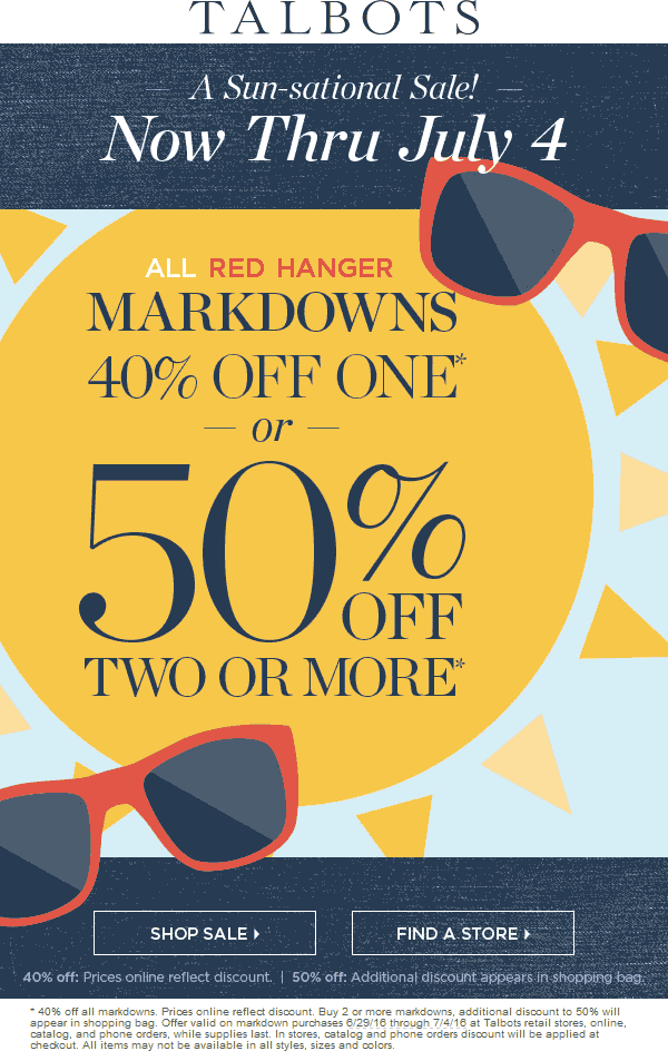 Talbots Coupon October 2017 Extra 40-50% off markdowns at Talbots, ditto online