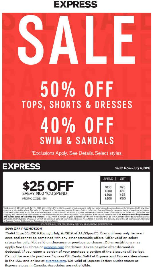 Express Coupon June 2017 50% off + $25 off every $100 at Express, or online via promo code 1461