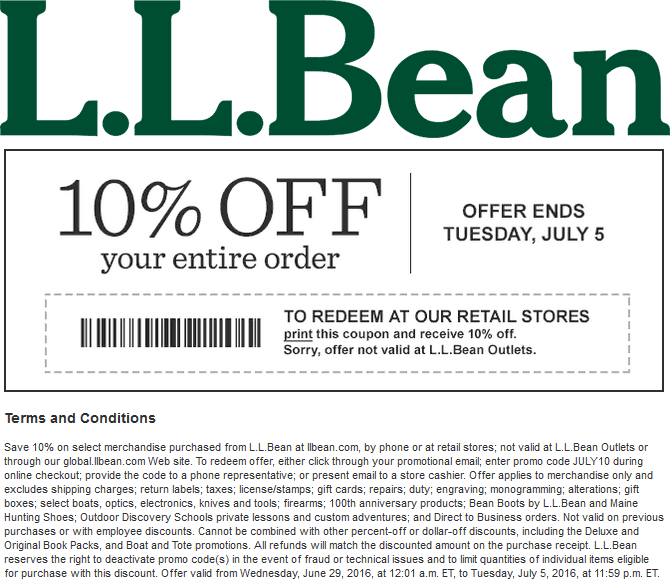 L.L.Bean.com Promo Coupon 10% off at L.L. Bean, or online via promo code JULY10