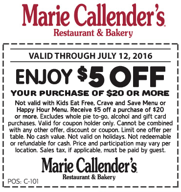 MarieCallenders.com Promo Coupon $5 off $20 at Marie Callenders restaurant & bakery
