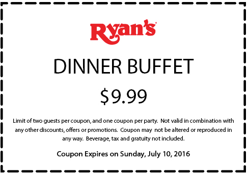 Ryans Coupon March 2017 $10 dinner buffet at Ryans