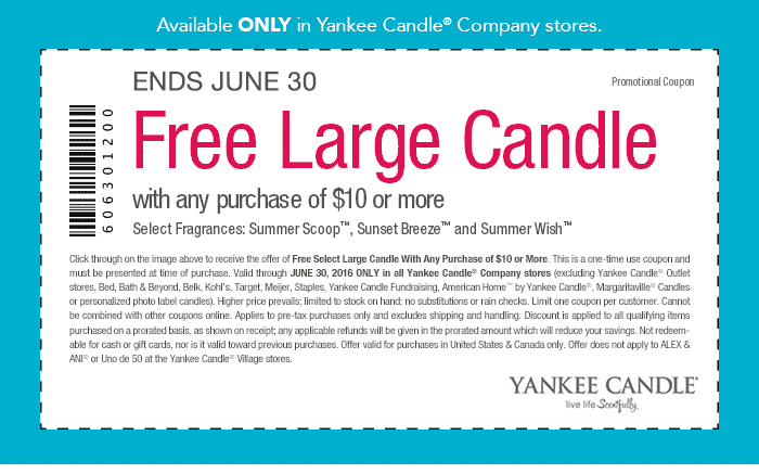 Yankee Candle Coupon December 2016 Free large candle today with $10 spent at Yankee Candle