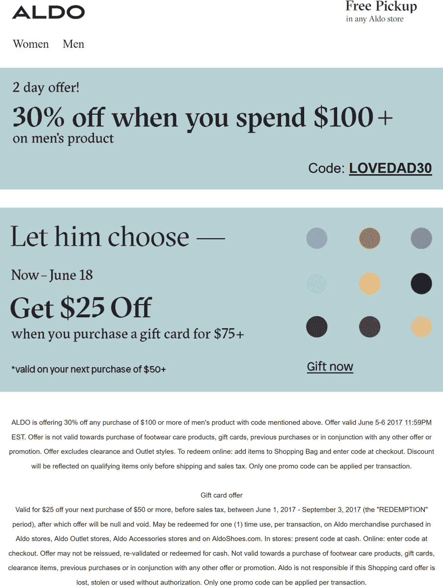 Aldo Coupon October 2018 30% off $100 on Mens at Aldo, or online via promo code LOVEDAD30