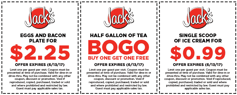 Jacks.com Promo Coupon $2 eggs & bacon plate & more at Jacks restaurants