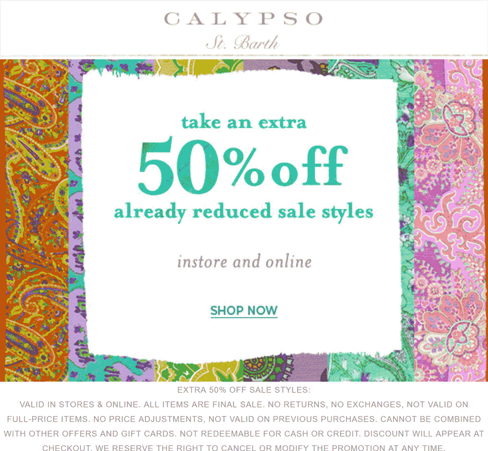 CalypsoSt.Barth.com Promo Coupon Extra 50% off sale items at Calypso St. Barth, ditto online