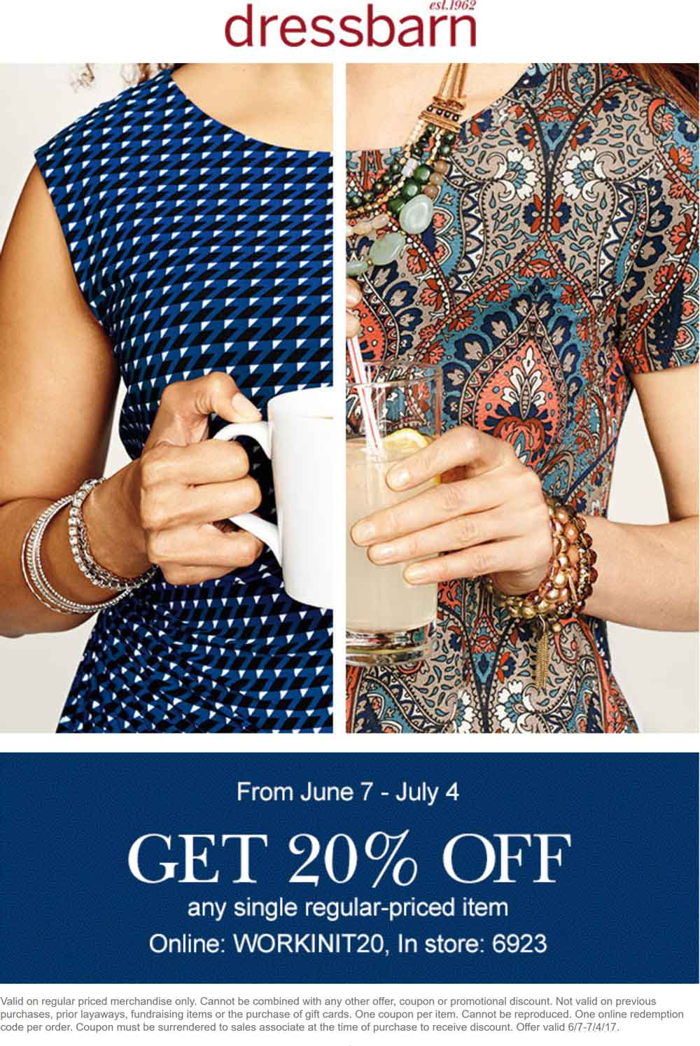 Dressbarn Coupon August 2018 20% off a single item at Dressbarn, or online via promo code WORKINIT20