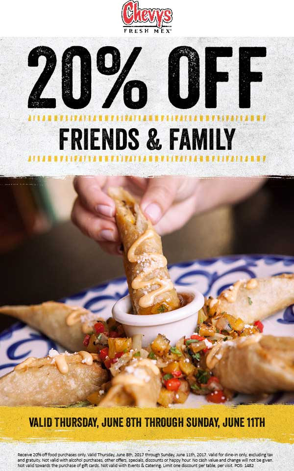 Chevys Coupon October 2019 20% off at Chevys Fresh Mex restaurants