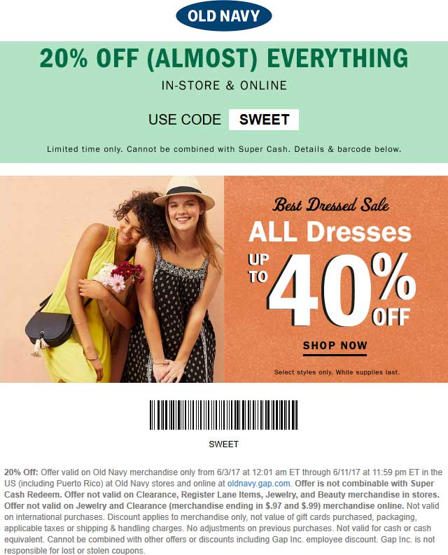Old Navy Coupon October 2018 20% off at Old Navy, or online via promo code SWEET