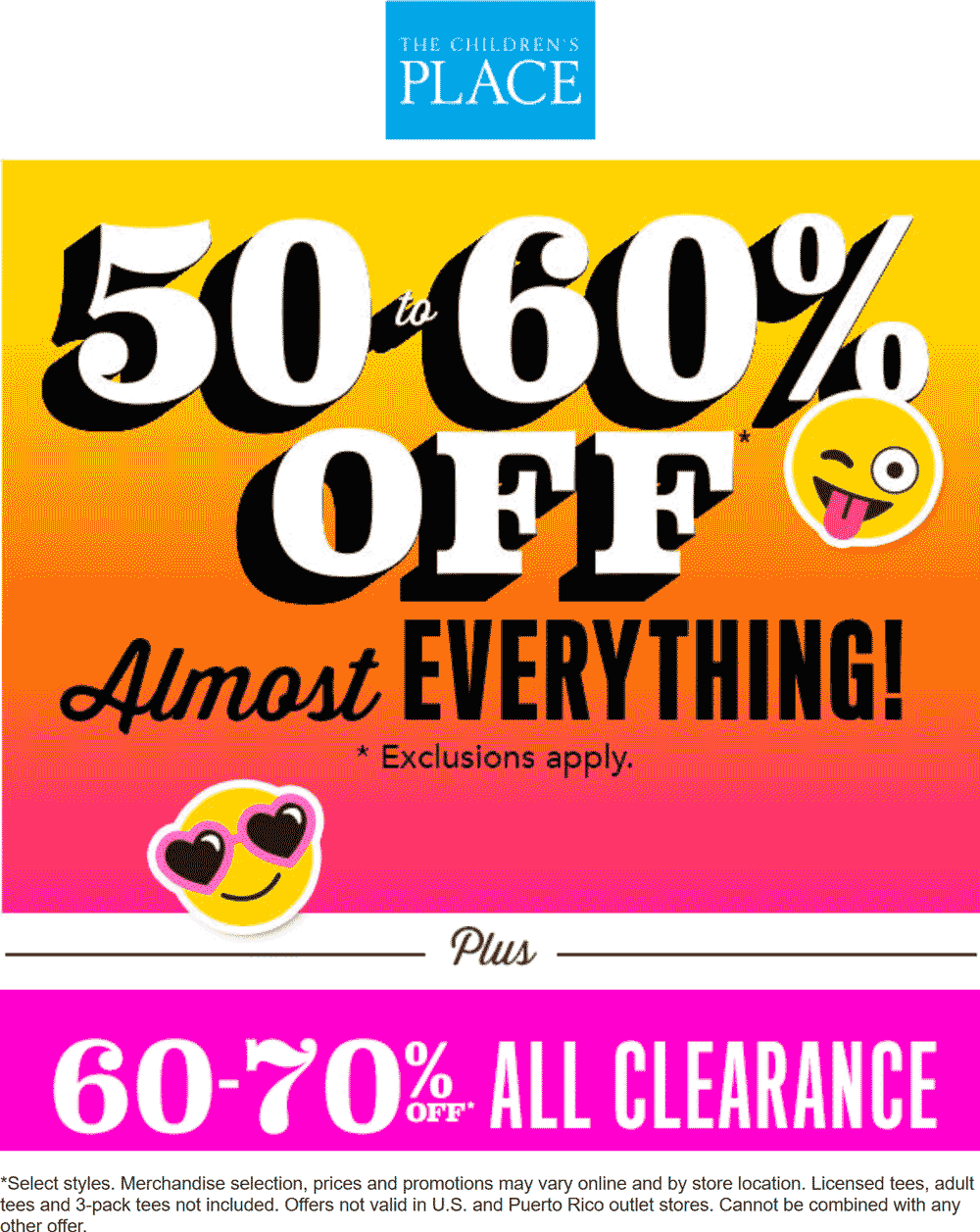 Children's place coupon code 50 off 2018