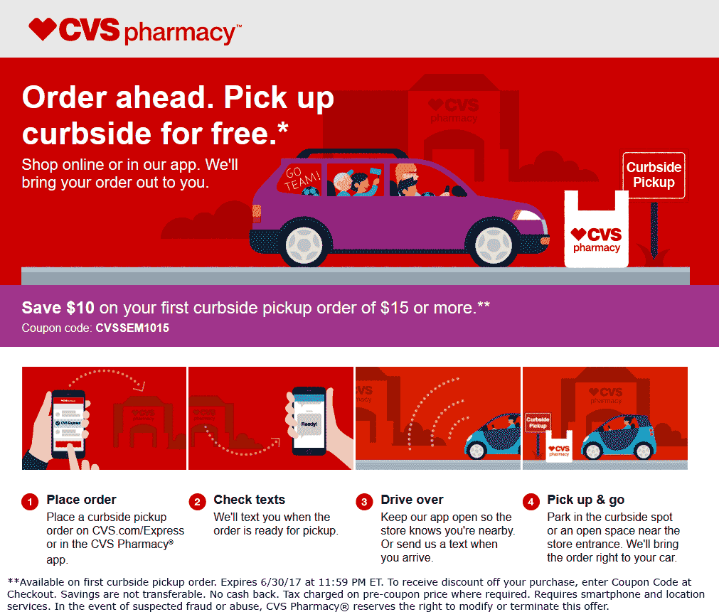 CVS Pharmacy Coupon August 2018 $10 off $15 on curbside pickup at CVS Pharmacy via promo code CVSSEM1015