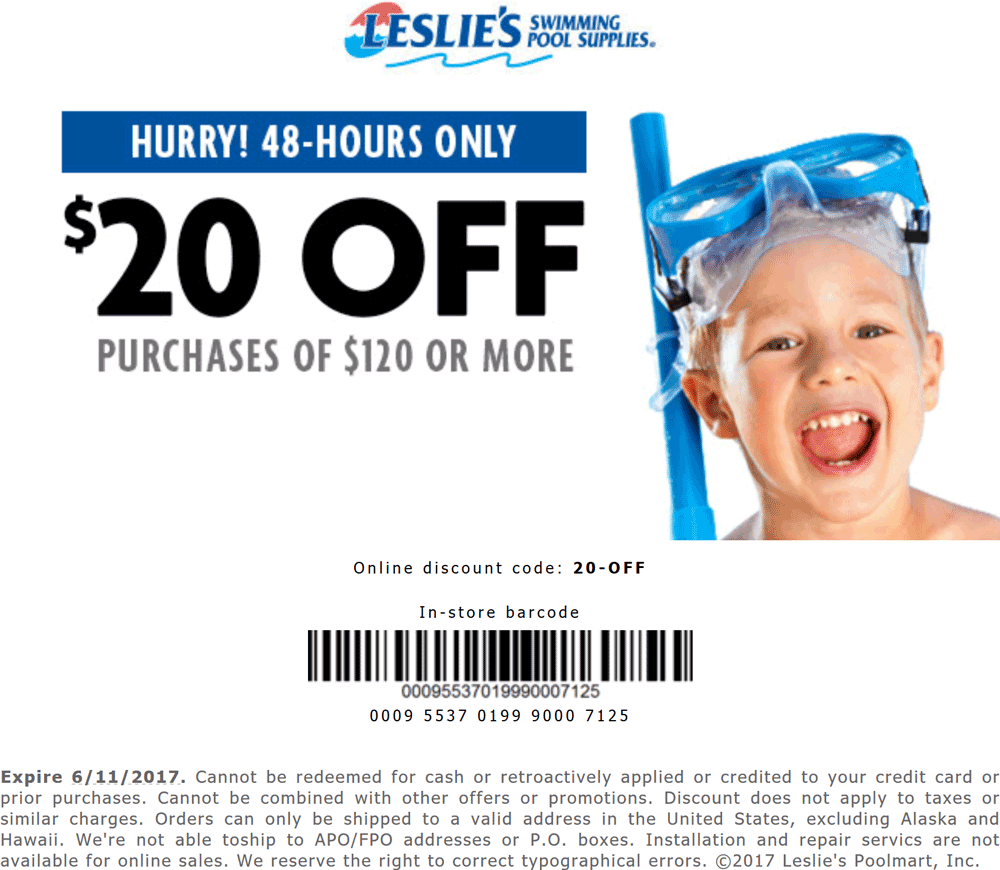 Leslies Pool Coupon December 2019 $20 off $120 at Leslies Pool Supplies, ditto online