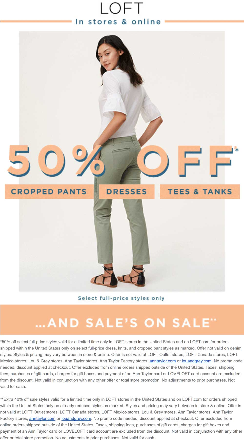 LOFT Coupon August 2018 Extra 40% off sale items at LOFT, ditto online
