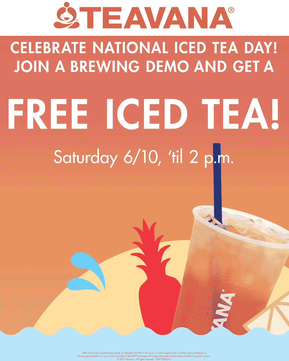 Teavana.com Promo Coupon Free iced tea today at Teavana