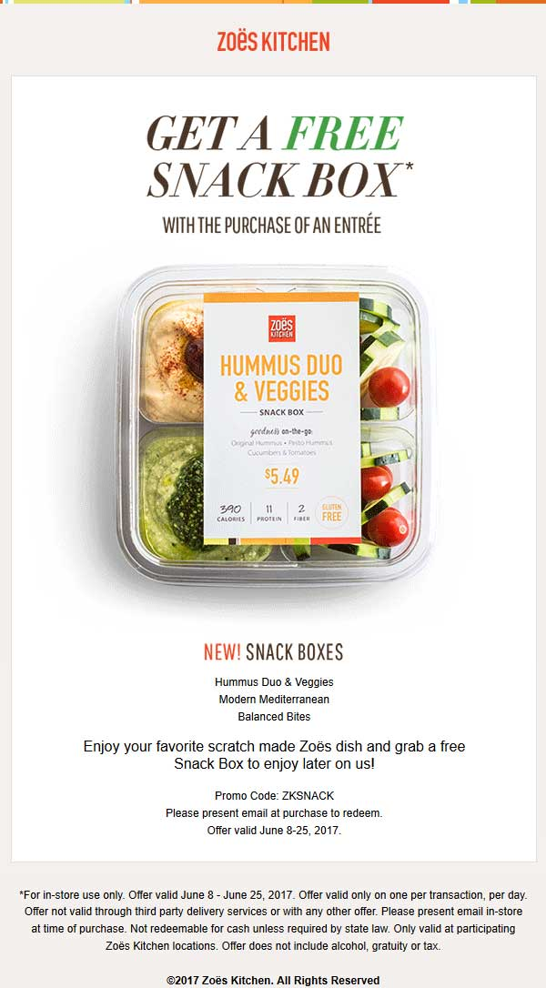 Zoes Kitchen Delivery   Zoes Kitchen Coupons Free Snack Box With Your Entree At Zoes Kitchen