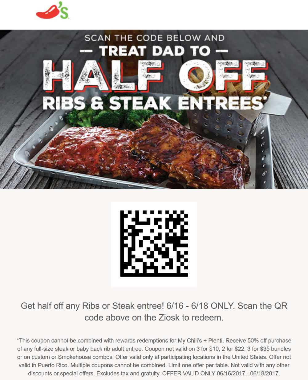 Chilis Coupon March 2019 50% off ribs & steaks at Chilis restaurants