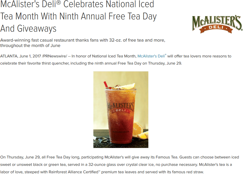McAlisters Deli Coupon May 2018 Free iced tea the 29th at McAlisters Deli restaurants