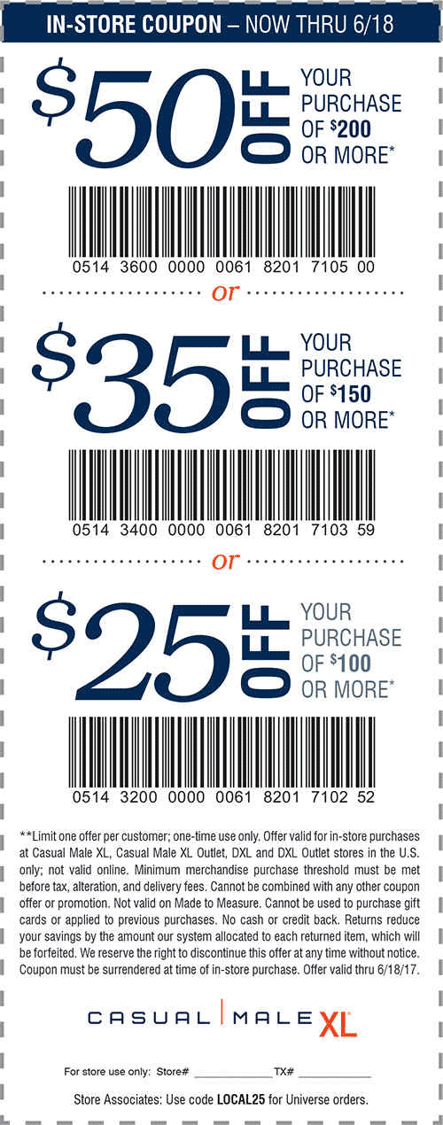 Casual Male XL Coupon March 2018 $25 off $100 & more today at Casual Male XL
