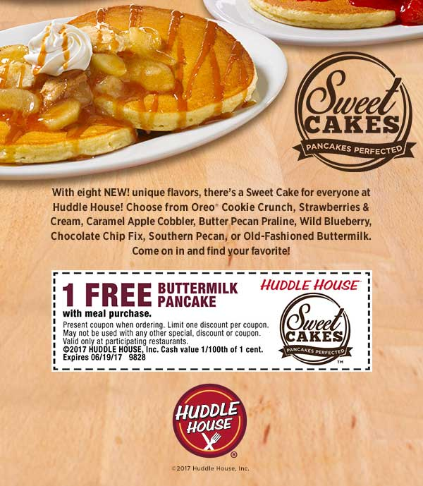 Huddle House Coupon August 2018 Free pancake with your meal at Huddle House